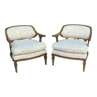 1960s Vintage Neo-Classical Damask Upholstered Chairs- A Pair For Sale