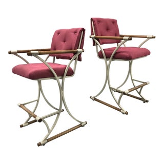 Vintage Upholstered Bar Stools in Cleo Baldon Style — a Pair For Sale