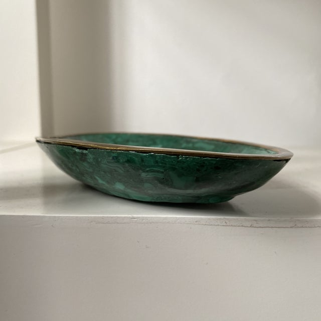 Metal Malachite and Brass Ashtray or Dish For Sale - Image 7 of 8