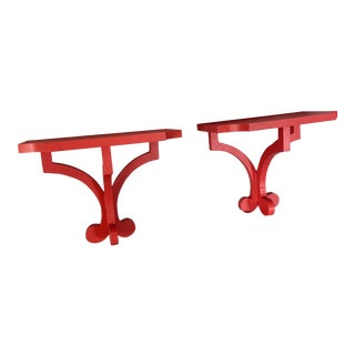 Chinese Red Chinoiserie Scalloped Wall Brackets - A Pair For Sale