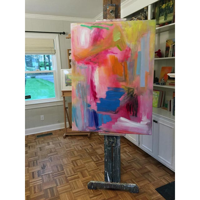 """Blue Large Abstract Oil Painting by Trixie Pitts """"Florida Feeling"""" For Sale - Image 8 of 10"""