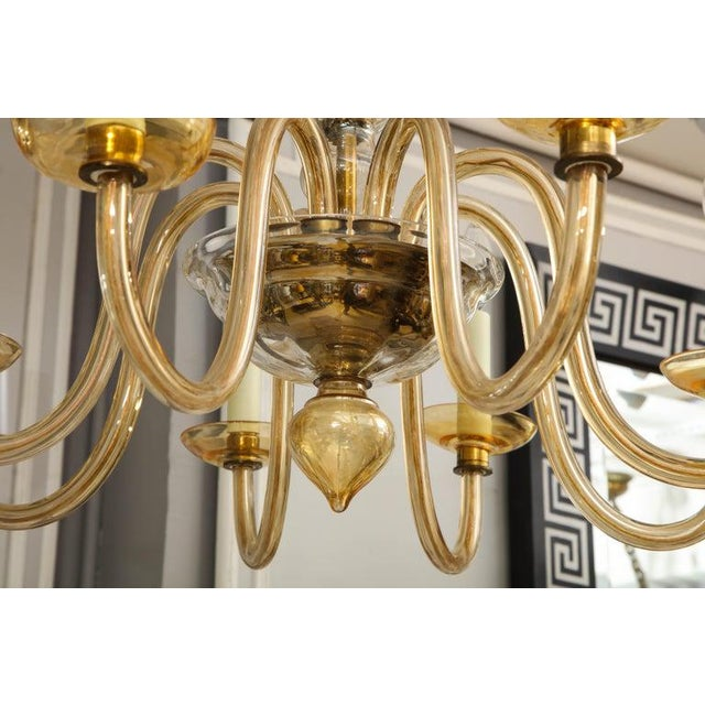 Glass Amber Eight-Arm Murano Glass Chandelier For Sale - Image 7 of 8