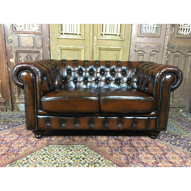 20th Century Vintage English Traditional Tobacco Brown Leather ...
