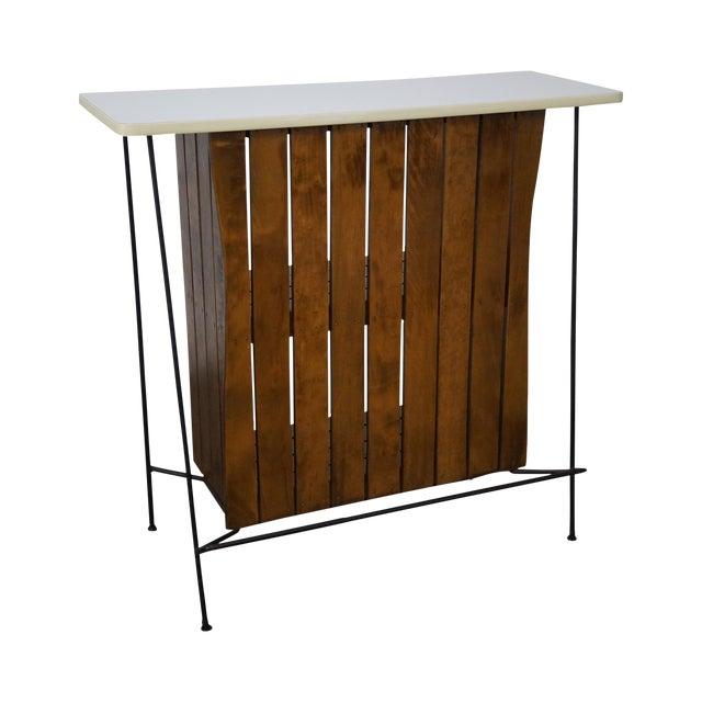 Arthur Umanoff Iron Frame Wood Slat Bar For Sale