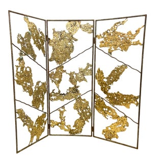 Three Panel Brutalist Bronze and Iron Screen Spill Cast Sculpture For Sale