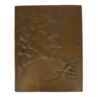 Art Nouveau Bronze Relief For Sale