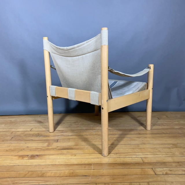 Oak & Canvas Safari Chair, Grainsack Seat, Worts Style For Sale In New York - Image 6 of 11