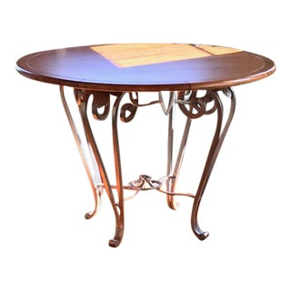 """44"""" Round Brushed Steel Base Dining Table For Sale"""