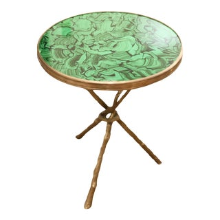Faux Malachite Finish Bronze Cross Stretcher Gueridon Table For Sale