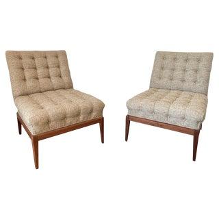 Tufted Slipper Chairs by Kipp Stewart- A Pair For Sale