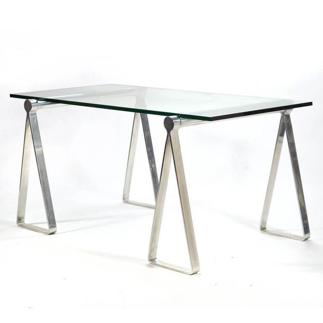"Campaign 1970s Aluminum ""Sawhorse"" Table or Desk For Sale - Image 3 of 10"