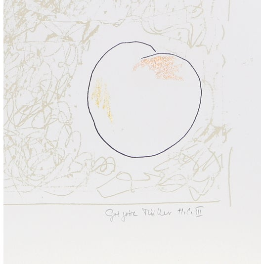 Artist: Gregoire Muller, Swiss (1947 - ) Title: Untitled - Peaches Year: circa 1970 Medium: Screenprint, signed and...