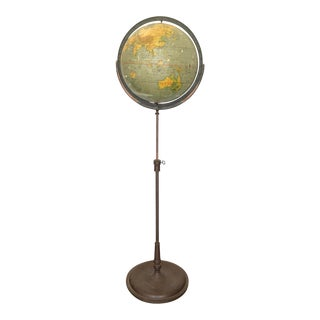 Large 1930s Schoolhouse Globe on Metal Floor Stand For Sale