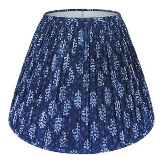 New, Made to Order, Indigo Blue Block Print Fabric, Medium Pleated/Gathered Lamp Shade Shade For Sale