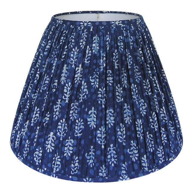 New, Made to Order, Indigo Blue Block Print Fabric, Medium Pleated/Gathered Lamp Shade Shade For Sale