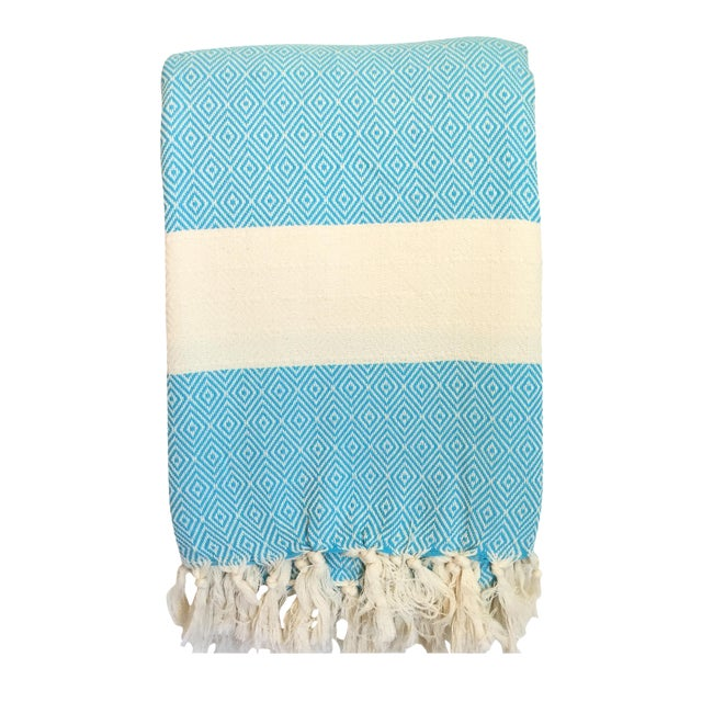 Turkish Turquoise Coverlet - Image 1 of 3
