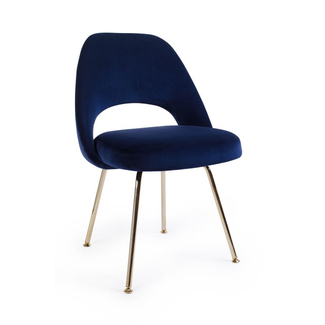 Not Yet Made - Made To Order Saarinen Executive Armless Chair in Navy Velvet, 24k Gold Edition For Sale - Image 5 of 5