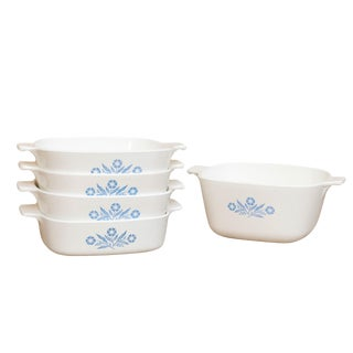 Corning Ware Blue & White Oven Dishes - Set of 5