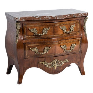 French Mini Louis XV Marquetry Commode, Original Marble Top, C.1870-1880 For Sale