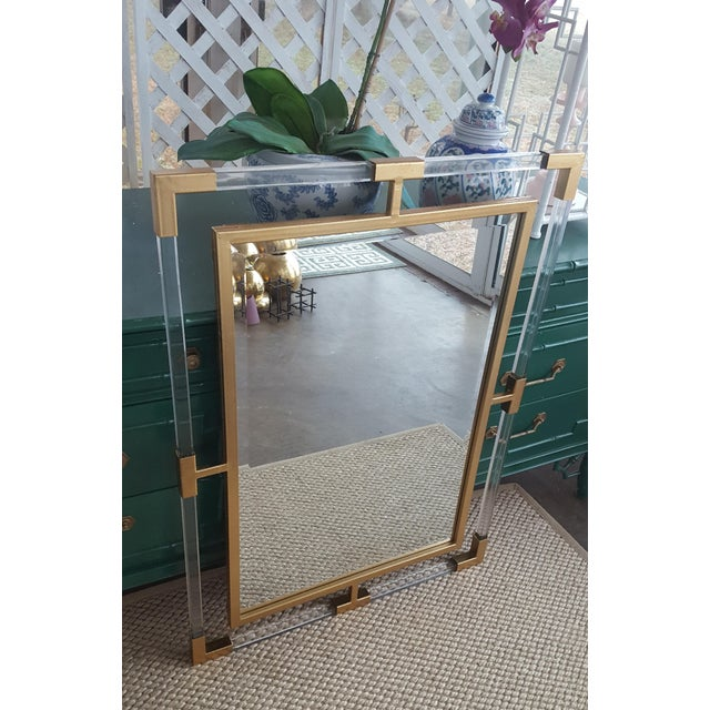 Large Lucite and Gold Metal Beveled Mirror - Image 4 of 9