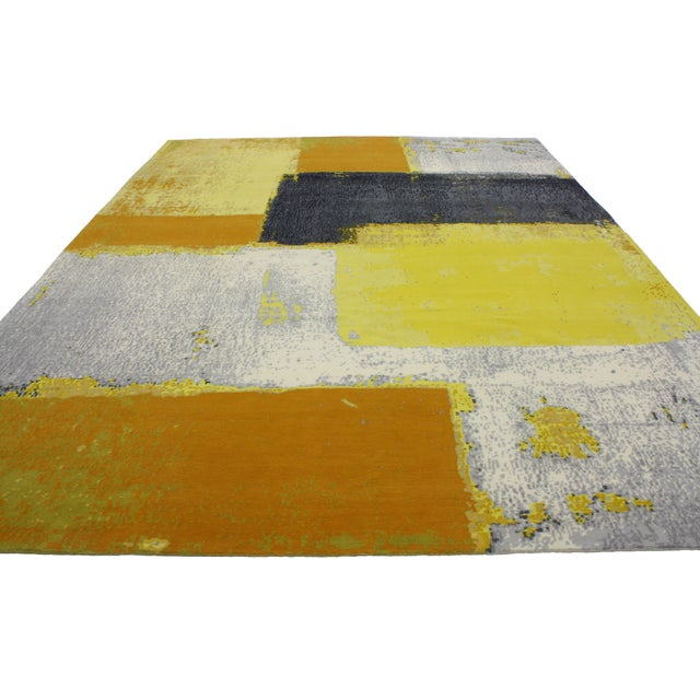 """Modern Style Contemporary Abstract Color Block Rug - 9' x 12'1"""" For Sale - Image 4 of 8"""
