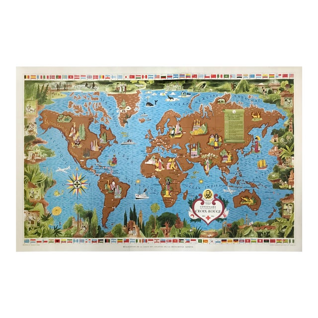 1963 Illustrated Vintage World Map, Centenary of Red Cross (Croix Rouge, 1863 - 1963) For Sale