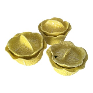 Vintage Secla Yellow Cabbage Bowls- Set of 3 For Sale