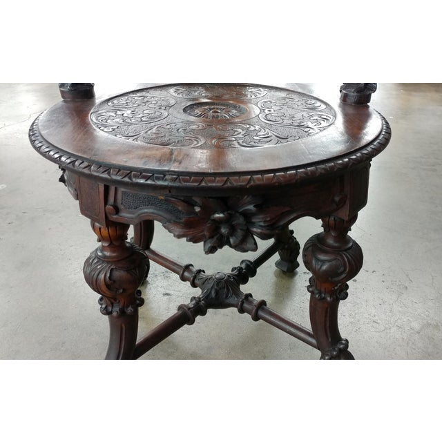 18th century Italian Renaissance round back Arm Chair w/carved reclining figures - Image 6 of 10