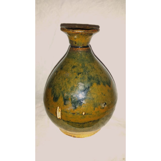 Antique Caramel-Glaze Chinese Clay Wine Saki Decanter For Sale - Image 4 of 7
