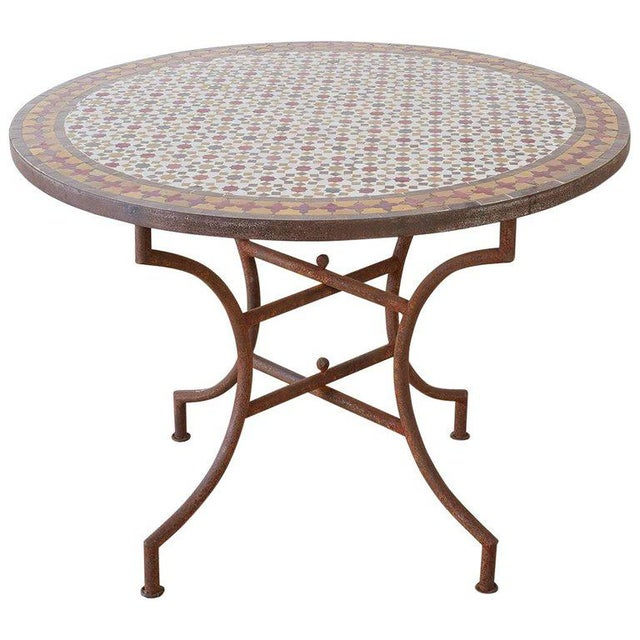 Spanish Dining Table With Moroccan Mosaic Tile Inlay For Sale - Image 13 of 13