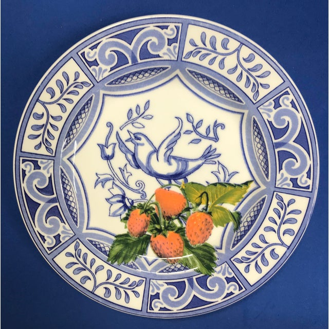 2010s Blue Bird Salad Plates Made in Italy Blue/White With Fruit - Set of 4 For Sale - Image 5 of 9