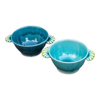 Contemporary Handcrafted Bowls With Scalloped Handles - a Pair For Sale