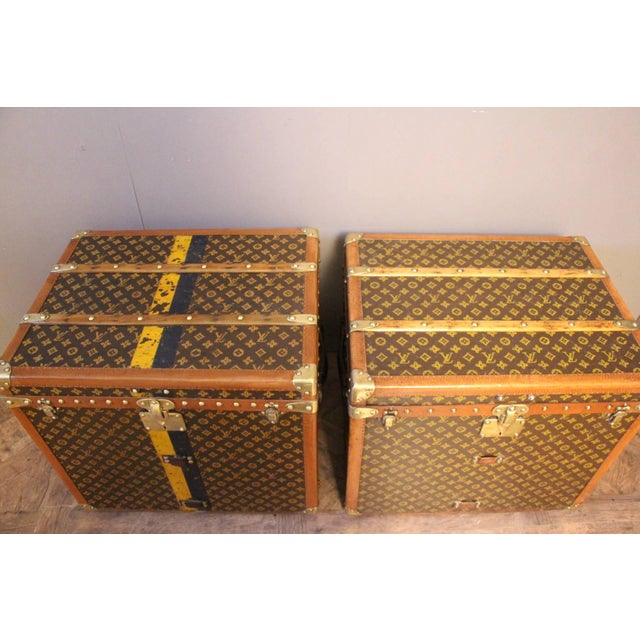 Pair of Louis Vuitton Monogram Steamer Trunks, Malles Louis Vuitton For Sale - Image 6 of 13