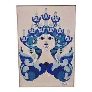 Vintage Bjorn Wiinblad St. Lucia Blue Woman Framed Poster For Sale