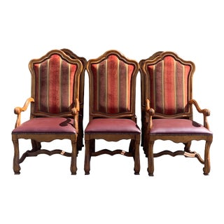 Lorts Furniture Burgundy Leather Seats and Velvet Back Dining Chairs - Set of 6 For Sale