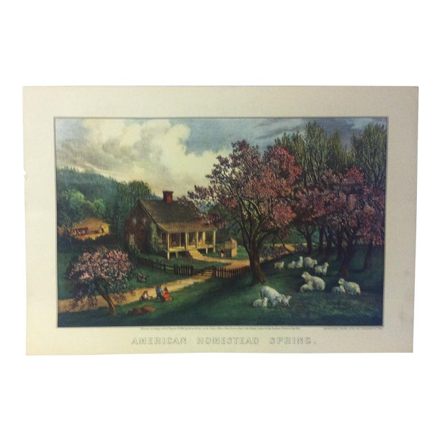 """Currier & Ives Color Print, """"American Homestead - Spring 1869"""", 1954 For Sale"""