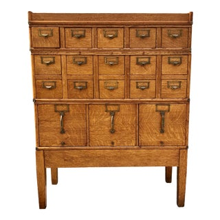 Antique Globe-Wernicke Arts and Crafts Era Tiger Oak Library Card Catalog Filing Cabinet For Sale
