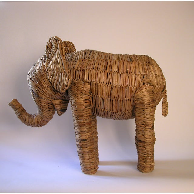 Vintage Large Seagrass Elephant - Image 5 of 7