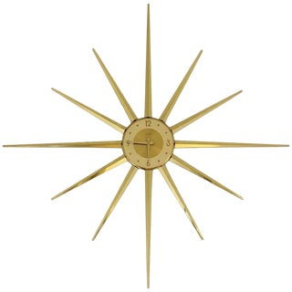 Large Roxhall Brass Spike Sunburst Clock, Circa 1960 For Sale