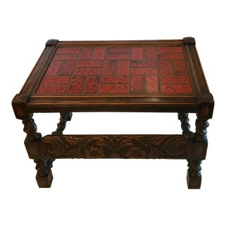 Heavily Carved Wood & Tile Top Table Bench