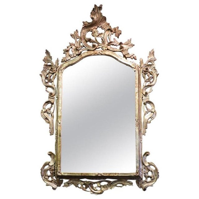 20th Century Italian Louis XV Style Silvered Wood Antique Wall Mirror For Sale - Image 11 of 11