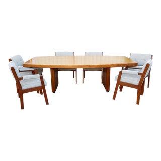 Vintage Walnut Dining Table Set For Sale
