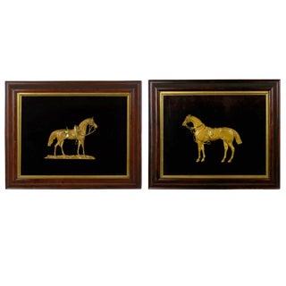 Pair of English Antique Gilt Bronze Equestrian Sculpture Plaques, 19th Century For Sale