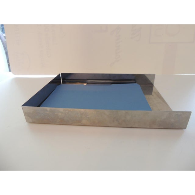 Mid-Century Modern Style Chrome Desk Inbox Tray For Sale - Image 4 of 6