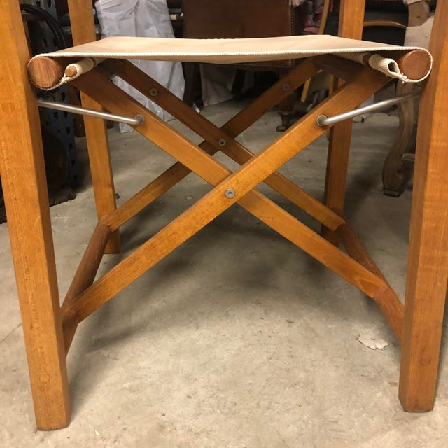 2010s Foldable Teak Directors Chair For Sale - Image 5 of 11