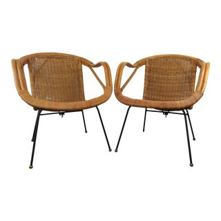 Vintage Mid-Century Modern Rattan & Sculpted Bamboo Hoop Chairs - a Pair For Sale
