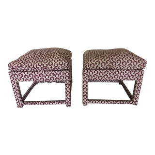 Contemporary Upholstered Stools - a Pair