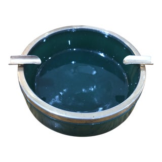 1920s Deco French Emerald Glass Catch All Ashtray For Sale