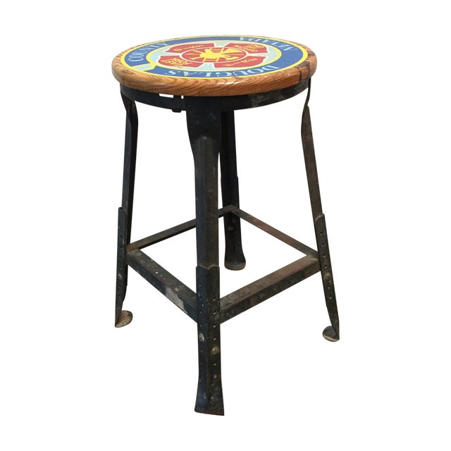 Vintage Industrial Firehouse Stool - Image 1 of 9
