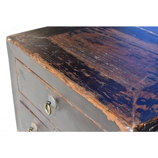 Wood Antique Small 3 Drawers Heavy Chest For Sale - Image 7 of 13